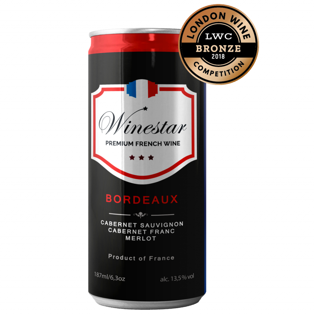 Winestar bordeaux red medal square